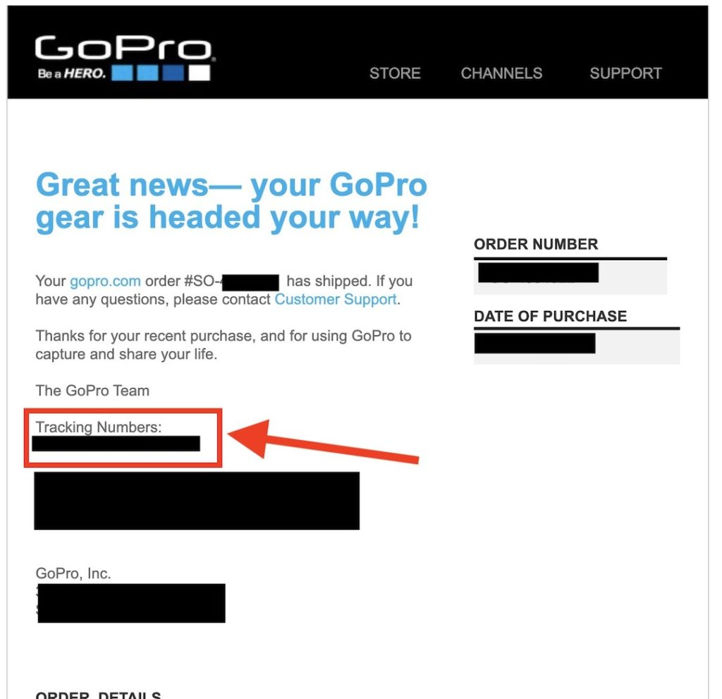 Gopro発送メール
